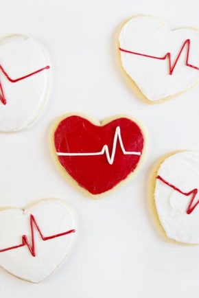 Heart shaped cookies with a piped EKG line!