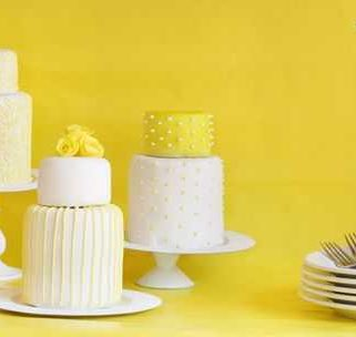 Mini Yellow Wedding Cakes