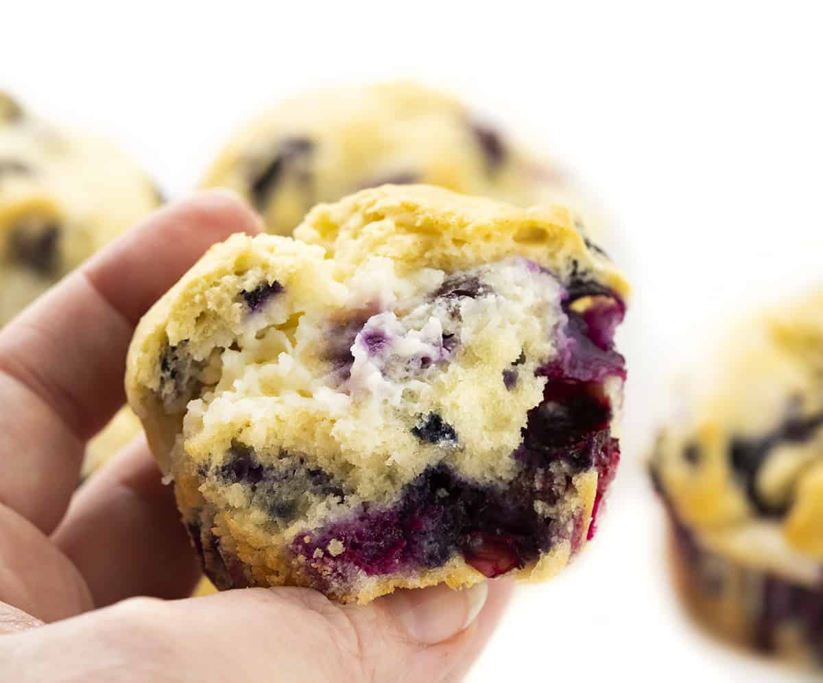 Hand Holding Blueberry Cream Cheese Muffins
