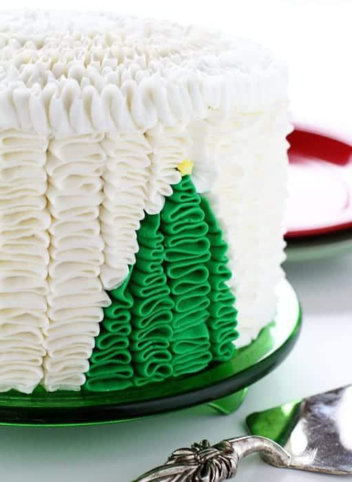 Christmas Tree Ruffle Cake! {an original iambaker design}