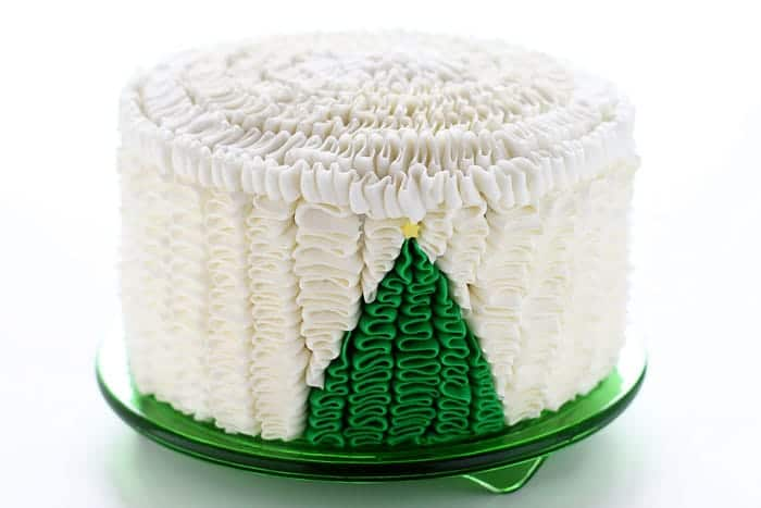 Christmas Tree Ruffle Cake! {an original iambaker design}