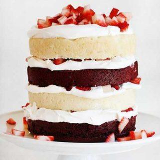 Red Velvet Strawberry Shortcake Cake