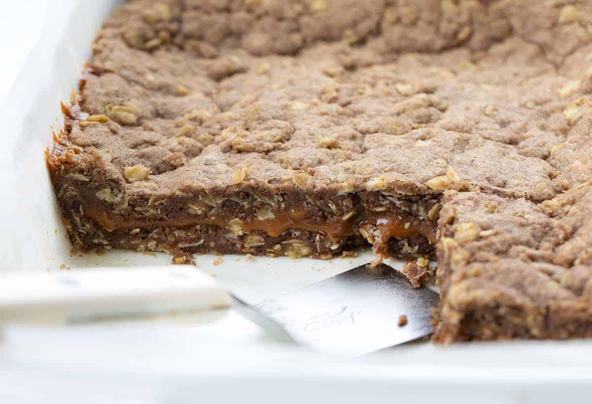 Pan of Oatmeal Brownie Milky Way Bars