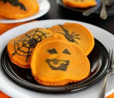 Orange and Black Pumpkin Pancakes