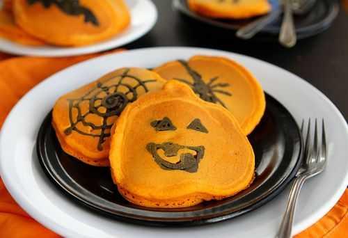 Orange and Black Pumpkin Pancakes