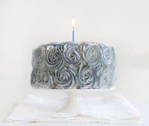 Silver Christmas Rose Cake