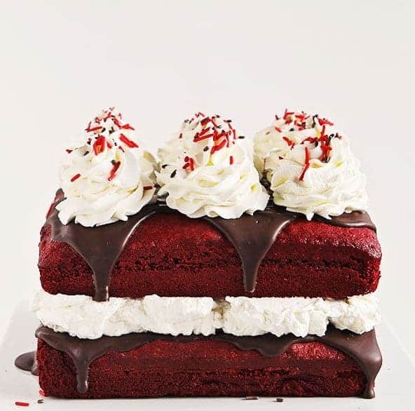 Red Velvet Cake with Peppermint Whipped Cream!