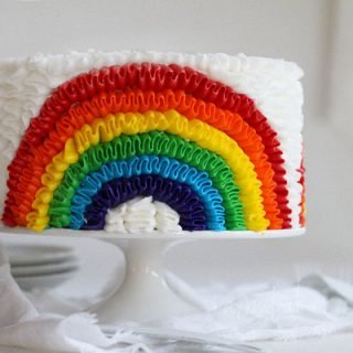 Rainbow Ruffle Birthday Cake