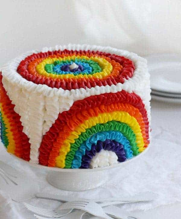 Rainbow Ruffle Birthday Cake - i am baker