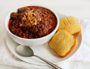 Homemade Chili and Real Corn Cornbread