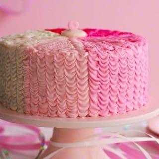 Strawberry Ruffle Birthday Cake (from scratch)