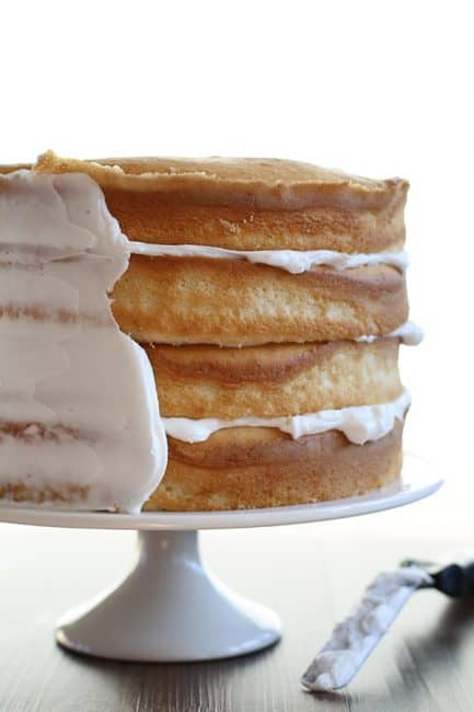 Partial Frosting of White Cake