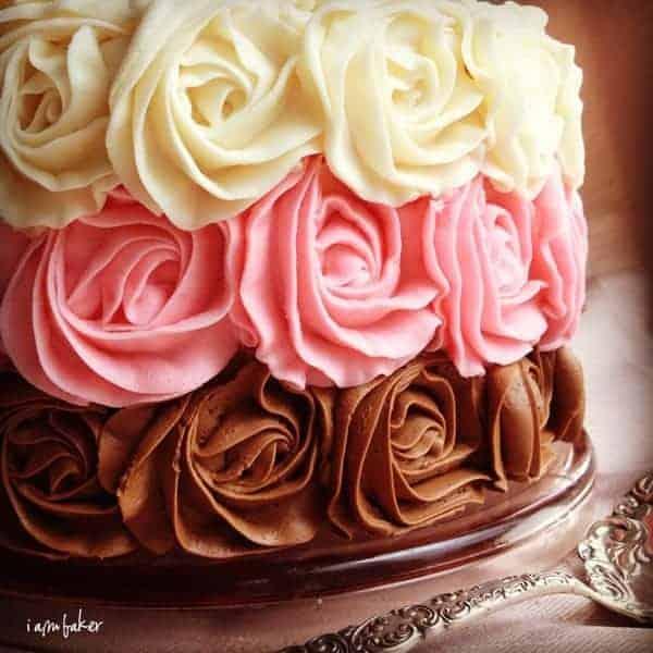 Neapolitan Rose Cake by iambaker.net