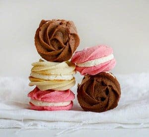 Neapolitan Rose Spritzer Cookies!  from iambaker.net