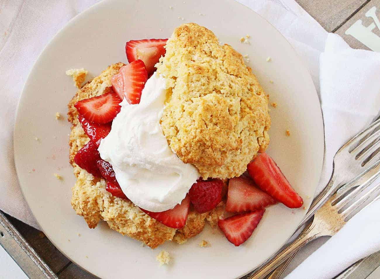 Overhead View of Tequila Strawberry Shortcake with Whipped Cream