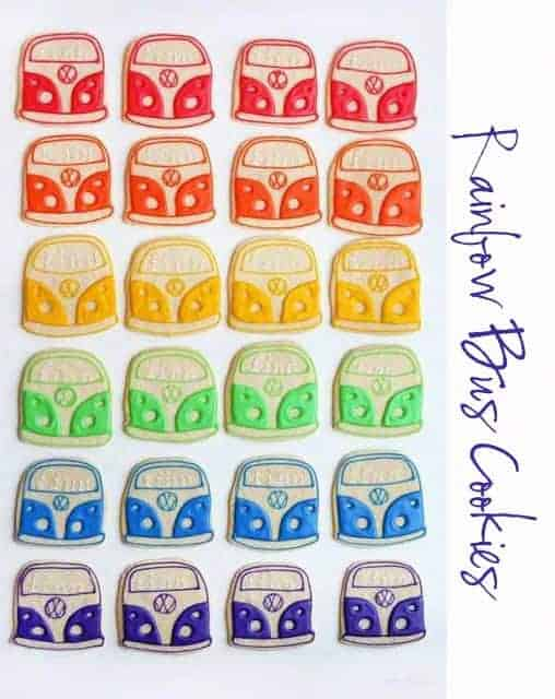 Rainbow Bus Sugar Cookies