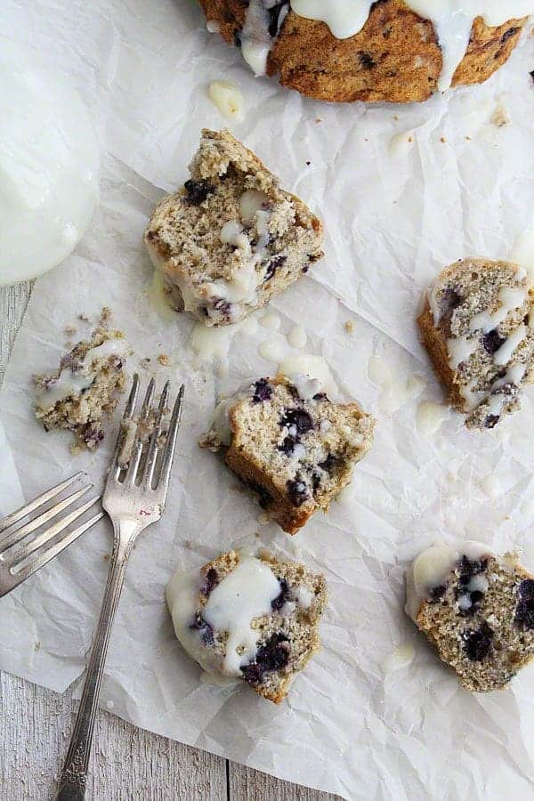 Pieces of Blueberry Bundt Breakfast Cake