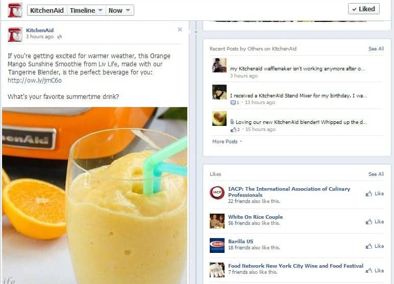 KitchenAid: An example of the proper way to share content on facebook!