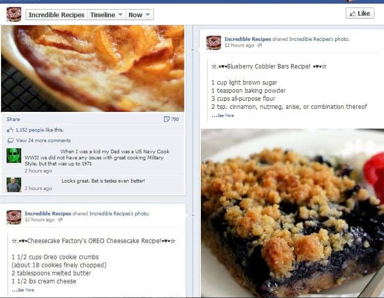 Example of Stolen Image and Recipe on Facebook Page: Important Info About Sharing on Facebook