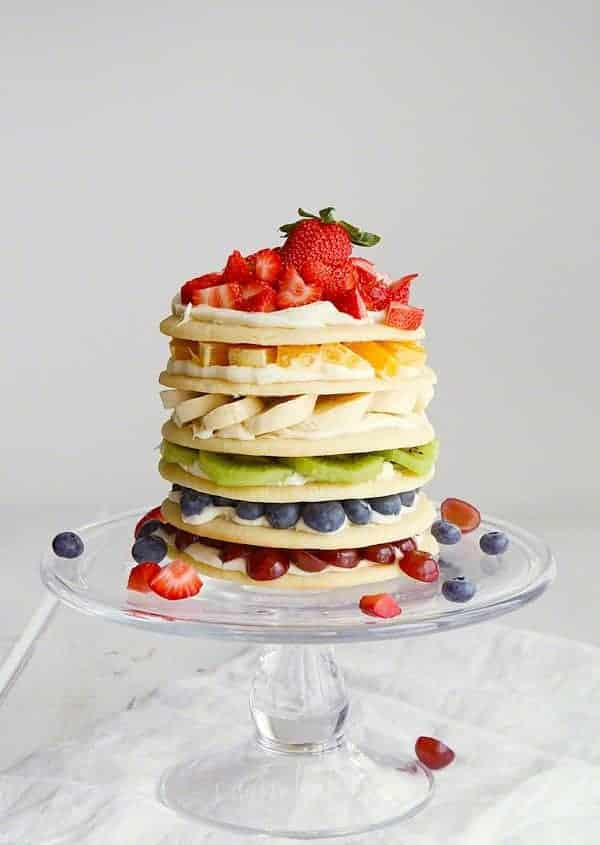 Rainbow Fruit Cookie Cake by iambaker.net