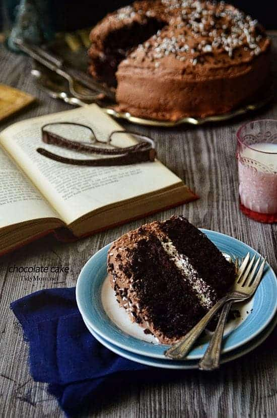Malted Chocolate Cake with Toasted Marshmallow Cream Filling -TidyMom