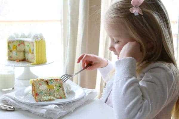Audrey enjoying a Surprise Inside Birthday cake!