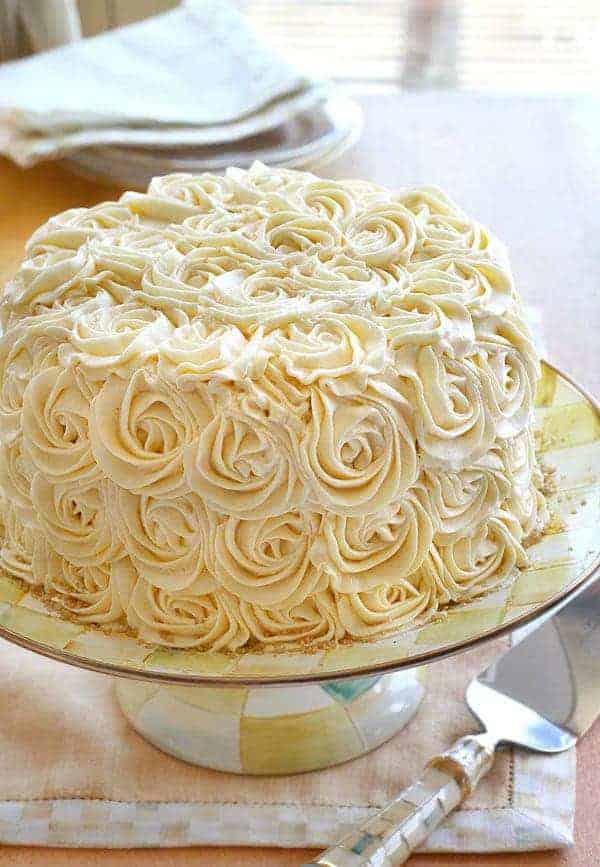 Original Rose Cake on Mackenzie-Childs Parchment Check Cake Stand