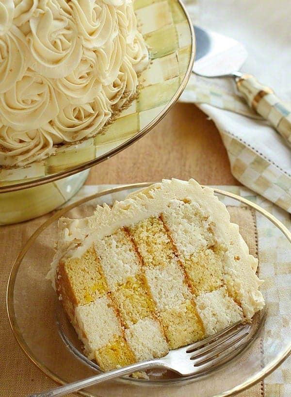 Checkerboard Cake covered in Rosette's!