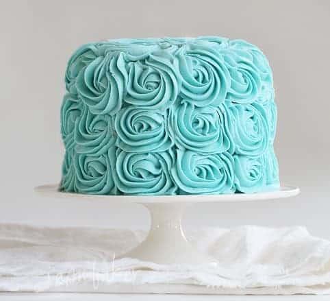 Baby Blue Rose Cake
