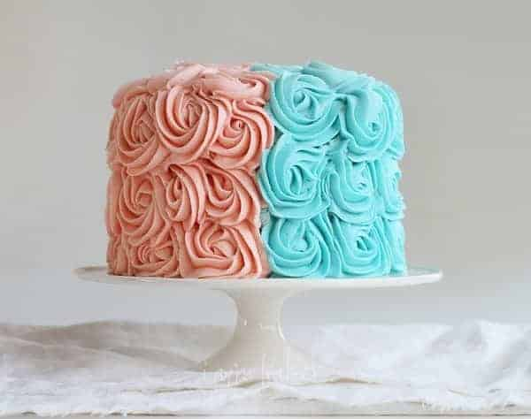 Gender Reveal Rose Cake