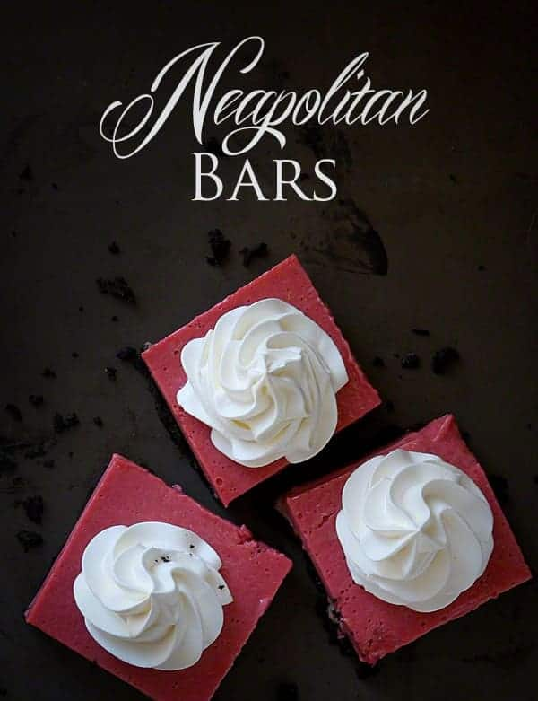 Neapolitan Bars with Oreo Crust