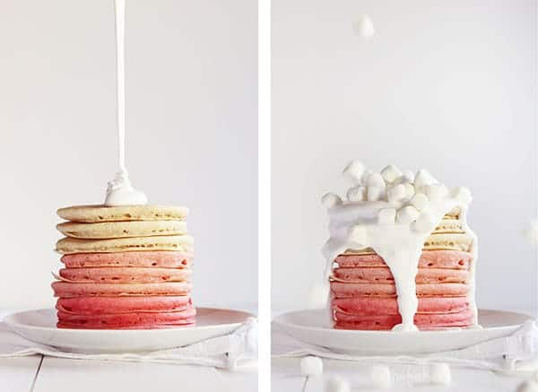 Pink Ombre Pancakes from iambaker.net