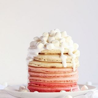 Pink Ombre Pancakes with Marshmallow Fluff Frosting