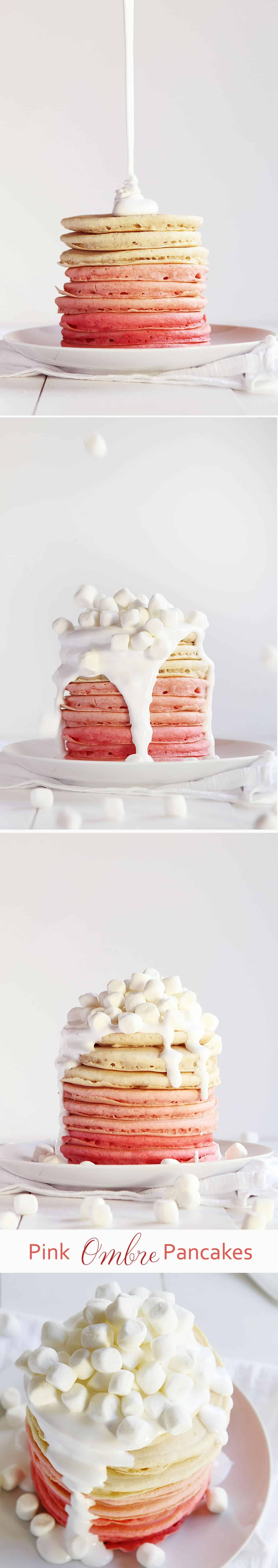 So sweet pink pancakes served with a decadent marshmallow fluff!