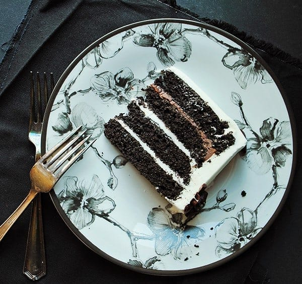 Black Velvet Cake on a Michael Aram side plate