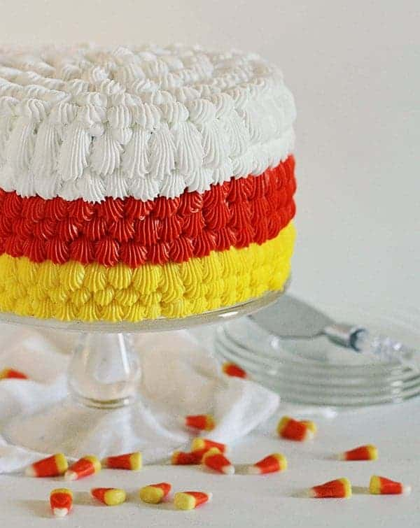 Candy Corn Cake! Full frosting tutorial! #halloween #candycorn #cake