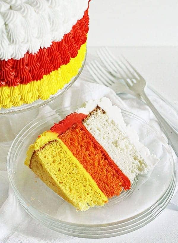 Candy Corn inspired cake! #cakedecorating #halloween #cake #frostinglesson
