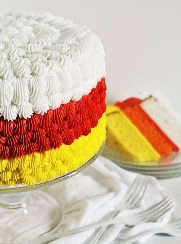 Candy Corn inspired cake! #halloween #cakedecorating #cake #buttercream #beautifulcakes