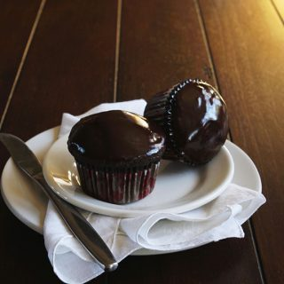 Dark Chocolate Cupcakes with Blackberry Filling