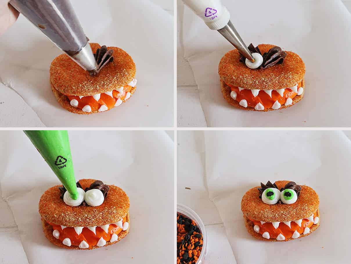 Tutorial on How to Make Monster Cookies #halloween #cookies #buttercream #iambaker