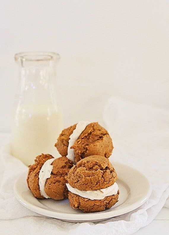 Pumpkin Spice Cake Cookie Sandwiches with Brown Butter Buttercream