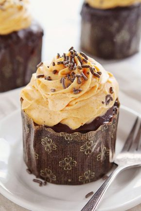 Chocolate Pumpkin Cupcakes with Pumpkin Whipped Cream #cupcakes
