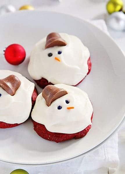 Red Velvet Melting Snowman Cookies I Am Baker