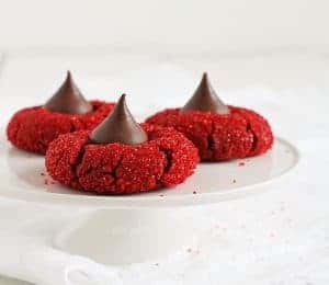 Red Velvet Peanut Butter Blossoms #baking #cookies #christmas