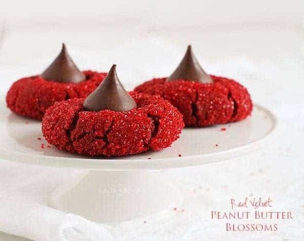 Red Velvet Peanut Butter Blossoms #cookies #redvelvet #christmas