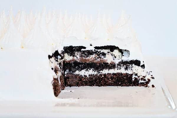 Oreo Ice Cream Cake covered in Whipped Cream