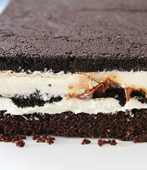 Oreo Cream Cheese Brownie Ice Cream Cake