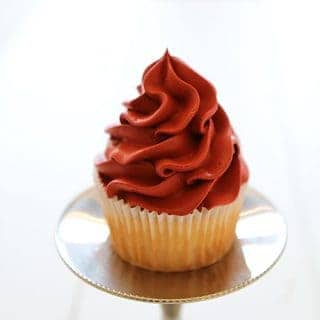 Red Velvet Mousse Cupcake Infused with Raspberry Simple Syrup