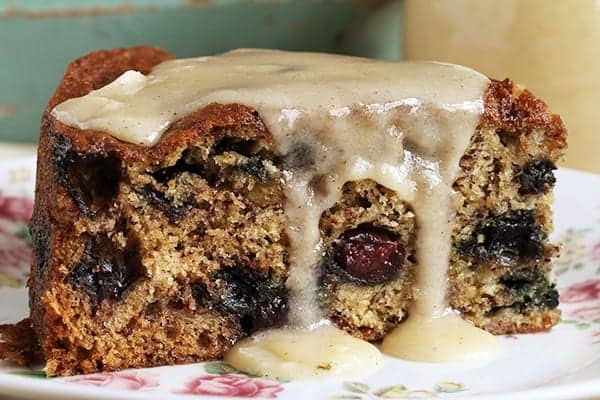Blueberry Banana Banana Cake with Brown Butter Glaze!