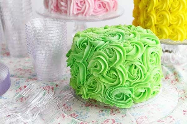 Green Rosette Cake on Chinet New Cut Crystal